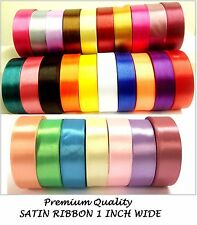 22 Meter of Satin Ribbon 1 inch 25mm wide most demanding basic solid 20 colours
