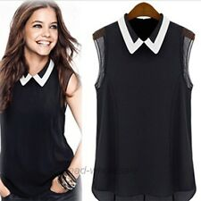 Women Summer Loose Casual Chiffon Sleeveless Vest Shirt Tops Blouse