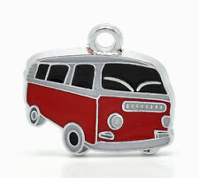 Wholesale Lots Silver Tone Enamel Shuttle Bus Charm Pendant 20x18mm