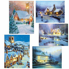 Christmas 40cm x 30cm LED Light up Canvas Picture - House E&F - 6 Designs