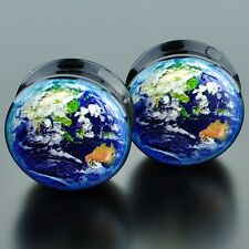 Pair Acrylic Ear Plugs Flesh Tunnels Stretchers Expanders Earth Globe East Screw