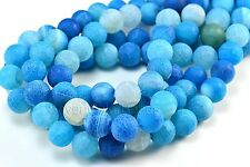 agate round beads - blue dragon vein beads - blue stone beads -size 6-14mm -15in