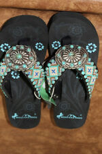 Montana West Cowgirl Western Stone Bling Flip Flops Wedge Sandals Aztec AP6