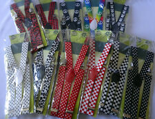 pattern print suspenders colours womens mens party costume gangster 1920's 20s