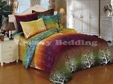 Rainbow Tree 3 pc Duvet Set - Comforter / Duvet Cover and Pillowcases Queen King