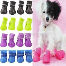 4x Cute Pet Dog Waterproof Boots Protective Rubber Rain Shoes Candy Color   hv2n