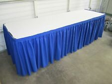TWO 14' Professional Grade PolySpun Pleated TABLE SKIRTS 8 foot table w/ Velcro