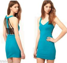 Motel Renee Cage Back Dress In Peacock Blue/Black RRP £38