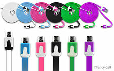6ft Heavy Duty Data Sync Charging Flat Tangle Free Cable Cord For Cell Phone