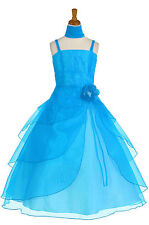 Dressesforgirls Turquoise Flower Girl Pageant Formal Party Wedding Dress J2463