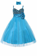 Dressesforgirls Turquoise Sequined Flower Girl Pageant Formal Dress J3333