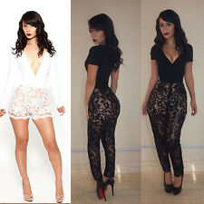 Sexy Fashion Lace Club Bandage Bodycon Jumpsuits Women's Cocktail Party Clubwear