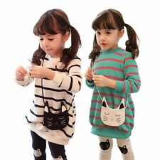 Girls Stripe Top Tshirts Dress + Pants Cat Leggings 3-8Y Cute Kids Outfits Sets
