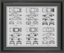 Blueprint Art - Porsche 911 Auto Collection - Car Artwork Gift Poster Car BP911