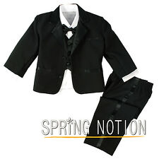 Baby Toddler Boys Formal Black Tuxedo Dress Suit No Tail