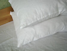 Two Linen Pillowases 100% Pure Flax Shams White Pillow Slip Cushion Cover Case