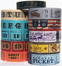 Washi Tape Paper Ticket Admit One Vintage Nostalgia Chalkboard Numbers Letters