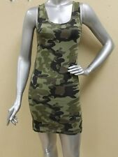 SEXY OLIVE GREEN ARMY MILITARY CAMO CAMOUFLAGE MINI DRESS TANK TUNIC TOP S M L