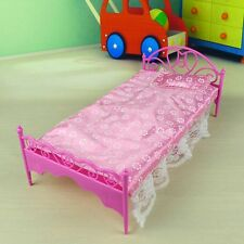 Fashion Mini Bed+Pillow for Barbie Dolls Dollhouse Bedroom Furniture Pink Purple