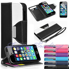 Luxury Flip PU Leather Wallet Cover Stand Case For Apple iPhone 5 5s