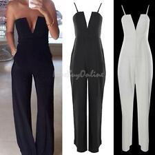 K1BO NEW Womens V Neck Strapless Sleeveless Bodycon Jumpsuit Romper Clubwear