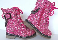 New Toddler Pink Floral Print Military Combat Lace-Up Zipper  Boots Sizes 4-8 US