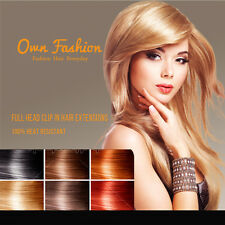 UK seller Clip in Hair Extensions Full Head 8  Pieces Synthetic Hair