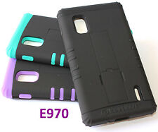 for LG Optimus G E970 AT&T -Dual Layer Hybrid Armor Hard + Soft Rubber Skin Case