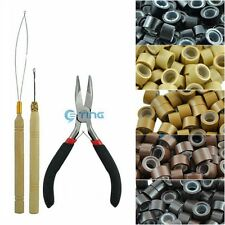 100 200 500 1000 Silicone Micro Rings Beads Hair Extensions Kit Hook Loop Pliers
