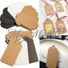 100pcs Kraft Paper Gift Tags Wedding Scallop Label Blank Luggage Card Hot Sale Q