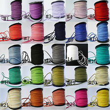 10/50 Meters Korea Faux Suede Cord Lace Leather Cord Flat DIY Rope 3×1.5mm