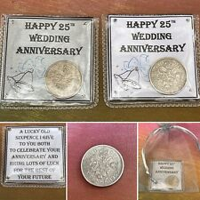 Lucky Sixpence Coin 25TH Silver Wedding Anniversary Keepsake Pouch Gift