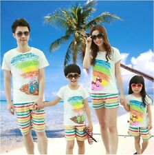 1sets Summer Mum Dad Kids Girl Boy Family T shirt + Pants set,Family clothes