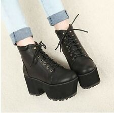 HOT Rock Thick Sole Chunky Heel Platform Lace Up Combat Riding Knight Ankle Boot