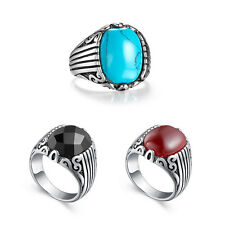 Stainless Steel Silver Mens Boys Stone Class Ring All Size Black/ Turquoise/ Red
