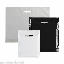 Box Of 100 Plastic Carrier Bags Black White Lightweight Cut Out Handles