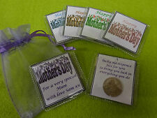 Personalised Mothers Day lucky sixpence keepsake gift with organza bag mum nan