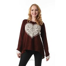 Ladies Innocent Lifestyle Women Heart Top Brown Long SleeveTop Clearance Price