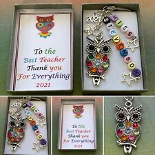 PERSONALISED BEADS TEACHER Owl Star Apple Thank You Keepsake Charm Gift Boxed