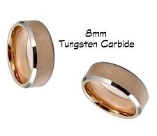 Tungsten Carbide Ring, Men's Rose Gold Brushed Wedding Comfort Fit Band 8MM