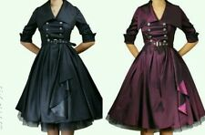 Purple / Black Vintage Belted Flared Dress Swing Rockabilly 50s 40s Pin Up Dress