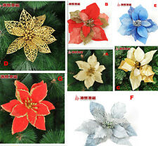 Sparkly Artificial Plastic Christmas Flower Ornament Decor Golden Red Blue