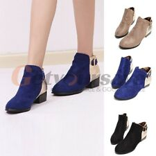 Hot fashion women Spike Suede Medium Heel Ankle Boots Shoes Western Style Lady