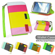 Samsung Galaxy Note II 2 N7100 Colorful PU Leather Wallet Flip Stand Case Cover