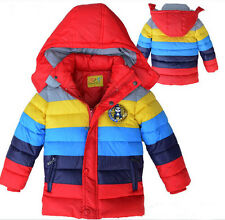 boys rainbow coat baby winter stripe outwear children cotton-padded clothes