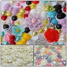 Mixed Flatbacks Hearts Half Pearls Bow Stars Cabochons 50/100 colour collections