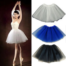 Women Girl Tulle Dress Solid Color Mini Tutu 3 Layer Bubble Skirt Evening