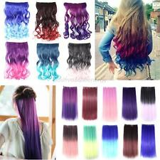 5 Clip in Rainbow Human Made Synthetic Straight/Curly Women Lady Hair Extensions