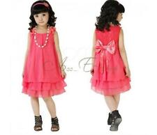 New Chiffon party pageant wedding dancing tulle flower girl dress + necklace