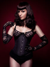 Lace Liaison Underbust Lace Up Corset Basque Top - Black Size 20 + | Sexy Fetish